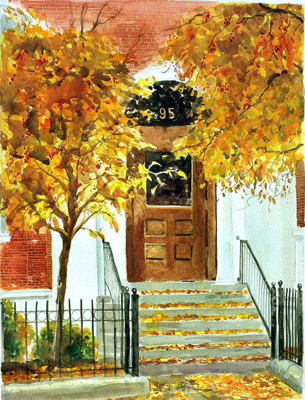 custom watercolor painting of front door in Autumn