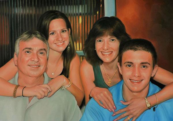 famiglia ricordo da foto olio