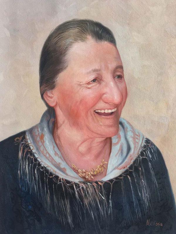 Foto einer älteren Frau handgemalt in Öl