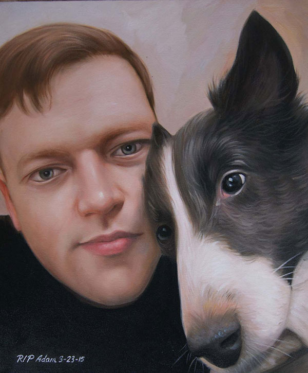oil portrait of man and dog
