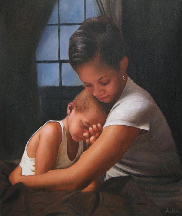 Mamma e bambino olio da fotografia