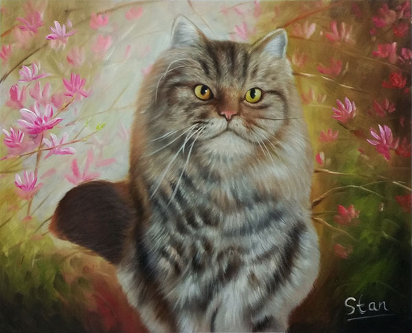 custom oil painting of fluffy grey cat with yellow eyes
