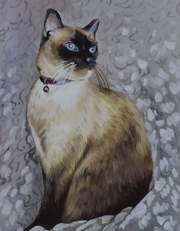 cat portrait hand painted pastel