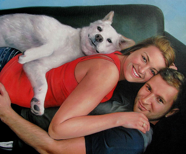picture to painting couple cuddling with dog