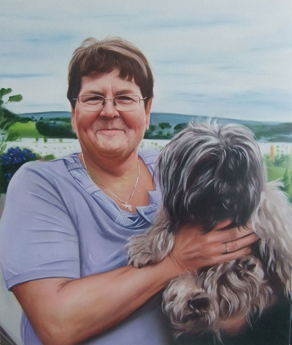 Signora mamma con cane olio da fotografia
