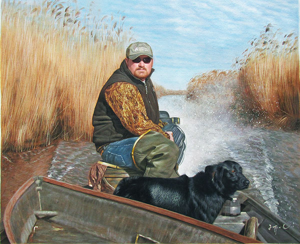 Custom oil portrait oof a dog and a man in a boat
