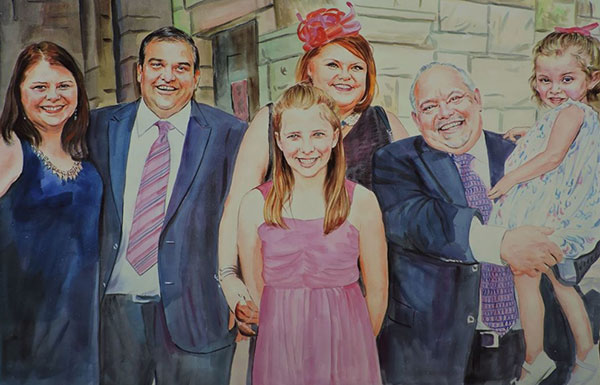 custom watercolor family portrait all smiles