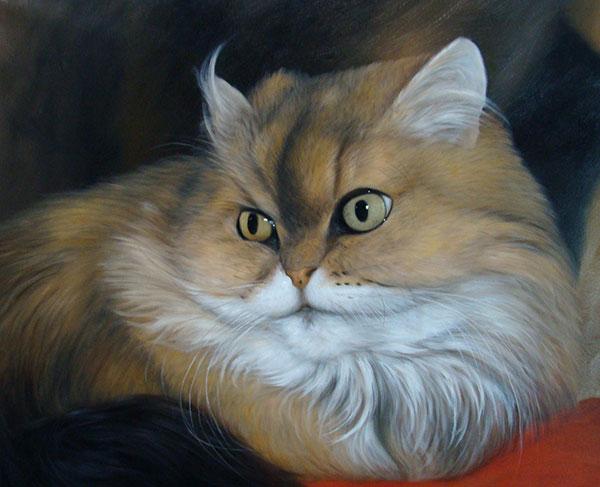 pintura de la lona del gato