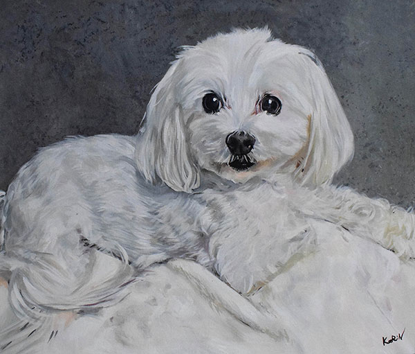 Custom acrylic portrait of adorable white curly haired dog