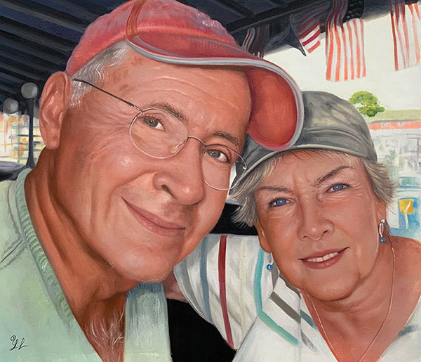 photos to art oil painting of elder white couple