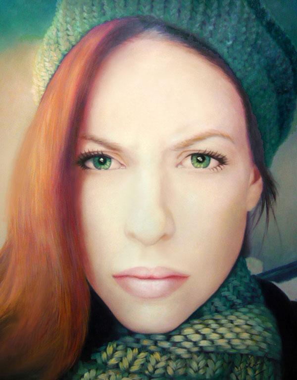 junge Frau mit grünen Augen als Ölgemälde