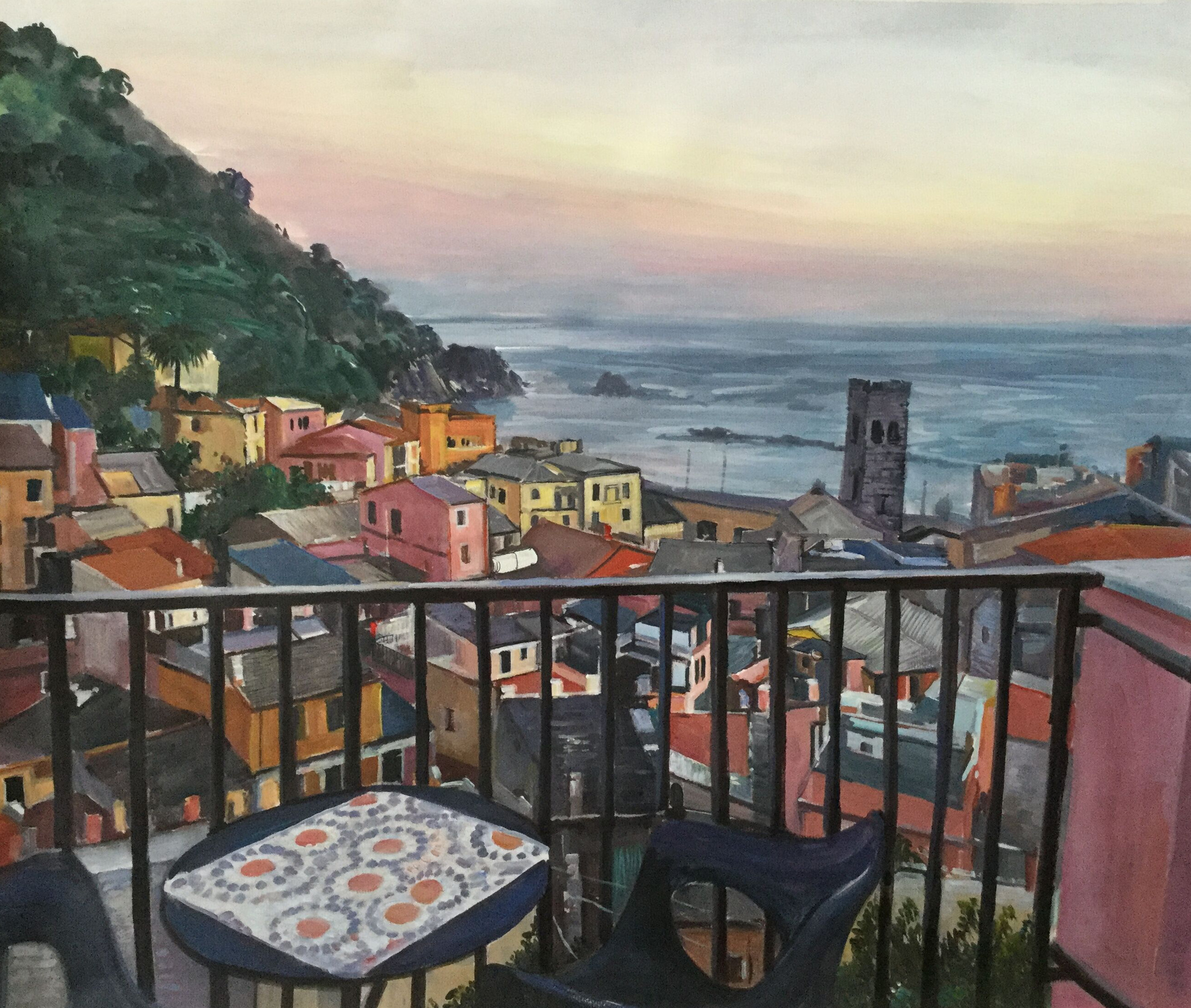 custom watercolor painting of houses by the sea from balcony