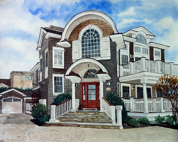 custom watercolor painting  of house with red door