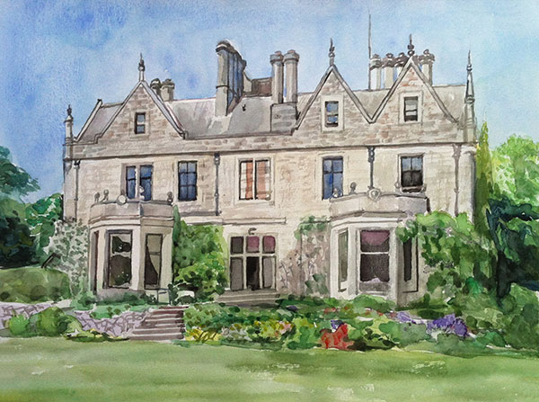 custom watercolor painting of a big house with trees