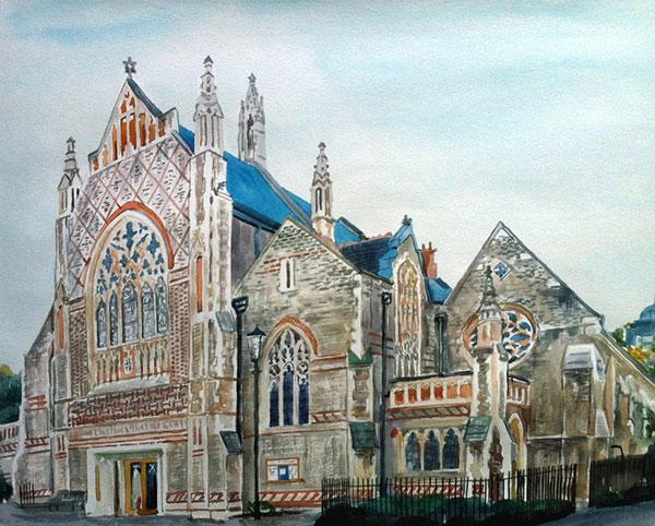 custom watercolor painting of Jewish Temple