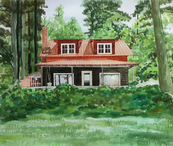 custom watercolor painting of a small black and red cottage