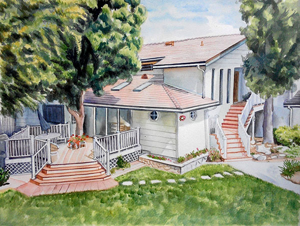custom watercolor painting house with front porch