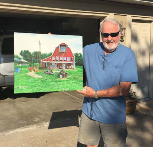 Handmade oil painting of a red barn