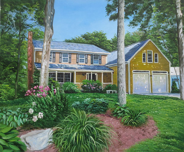 Custom oil handmade painting of yellow house
