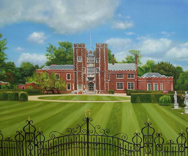 Custom oil painting of a red brick mansion