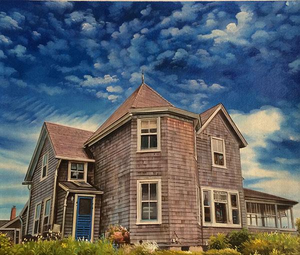 Custom oil handmade painting of grey brown woods house