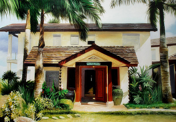 Custom oil painting of a house and palm trees