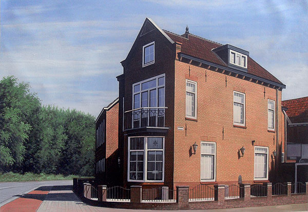 Custom oil painting of a red brick house