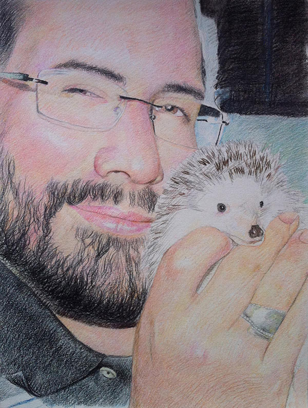 custom colored pencil drawing of man with hedgehog