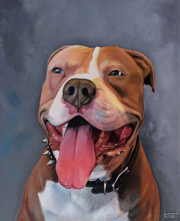 custom pitbull painting smiling