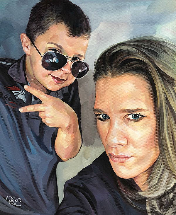 pastel portrait of mother with son