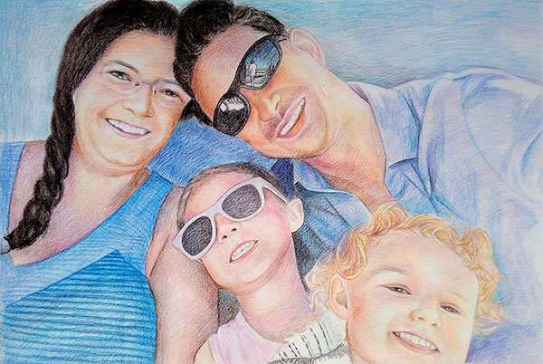 custom colored pencil family portrait