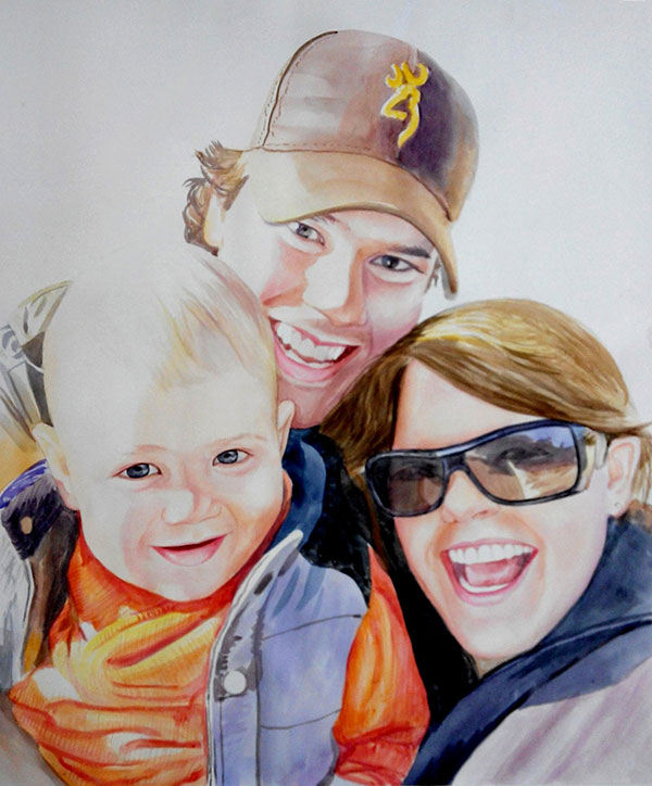 custom watercolor painting of a family with a baby