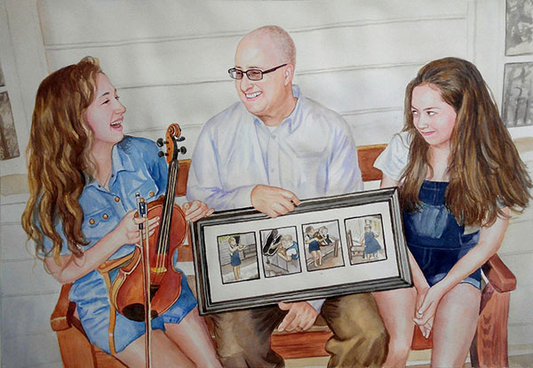 custom watercolor painting of father with children music