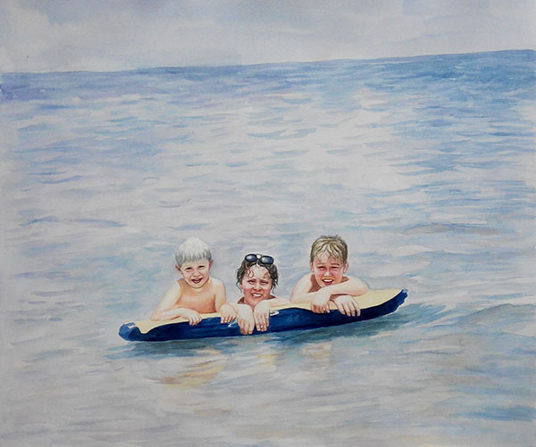 custom watercolor painting of a family swimming in the beach