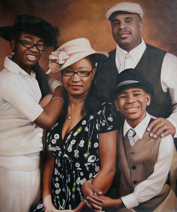 a custom oil painting of black family formal outfit