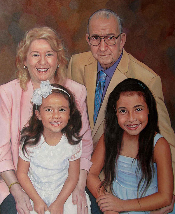 a custom oil painting of grandparents and kids