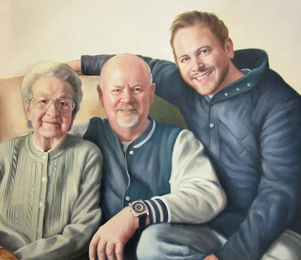 a custom oil painting of elder parents and son