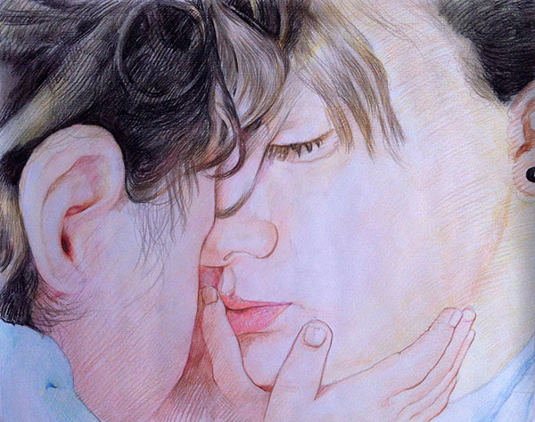 custom colored pencil portrait of mother and child
