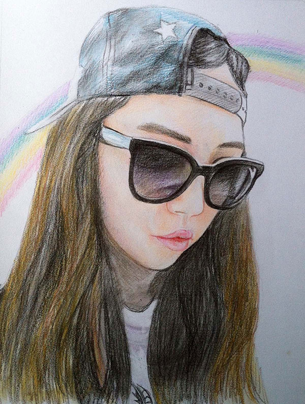 custom colored pencil drawing of girl in front of rainbow