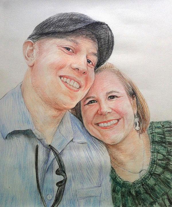 custom colored pencil portrait of a happy couple