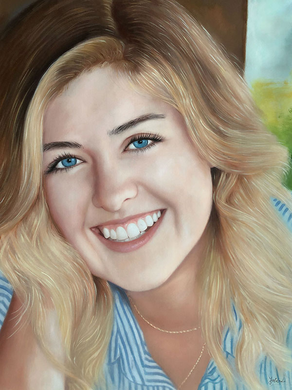an oil painting of a blond female with blue eyes