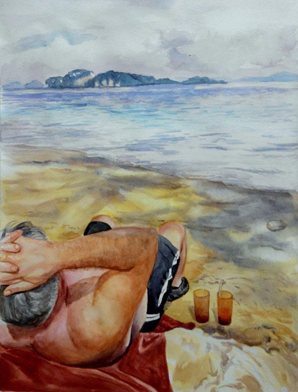 custom watercolor painting of man laying by the beach