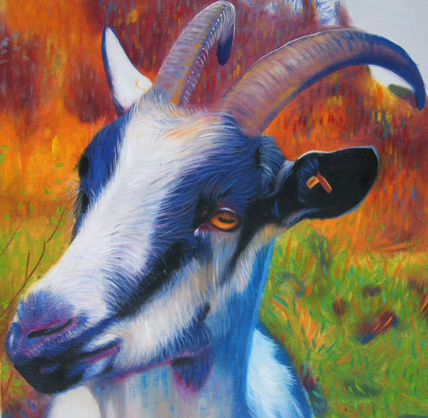 oil painting of goat with beautiful vibrant colors