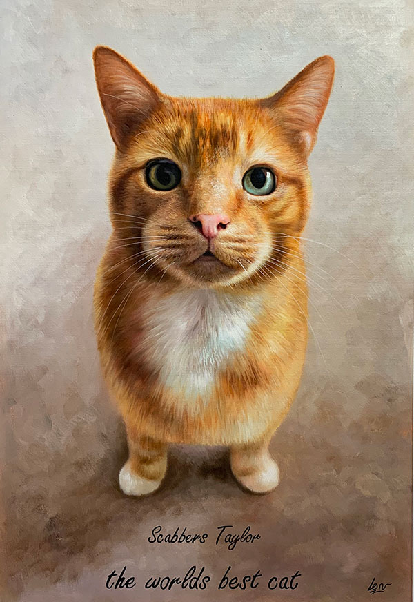 an oil painting of an orange cat with green eyes