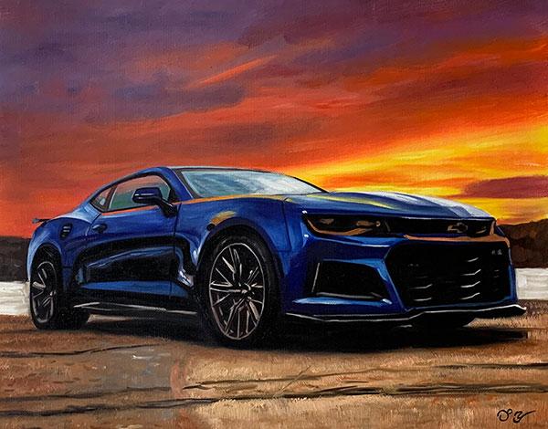 Handmade oil painting of a blue car