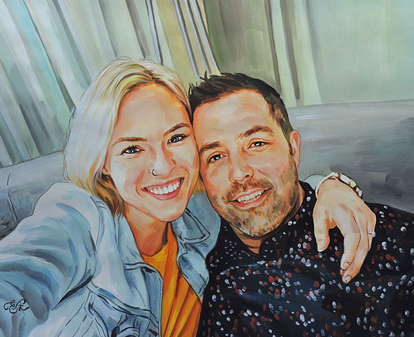 couple portrait pastel
