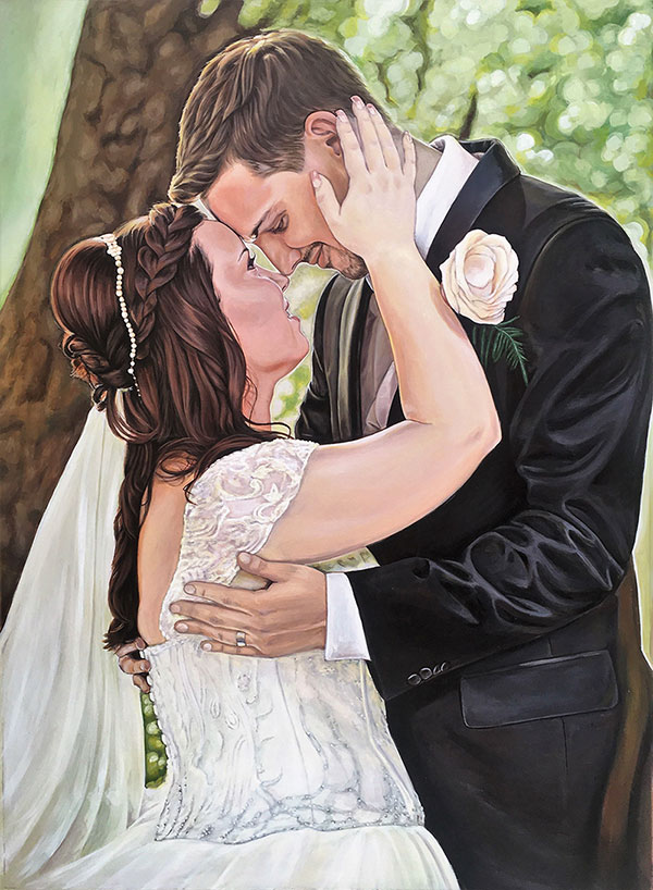 custom acrylic portrait of bride and groom outdoors