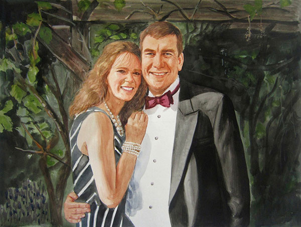 custom watercolor painting of a couple all dressed up