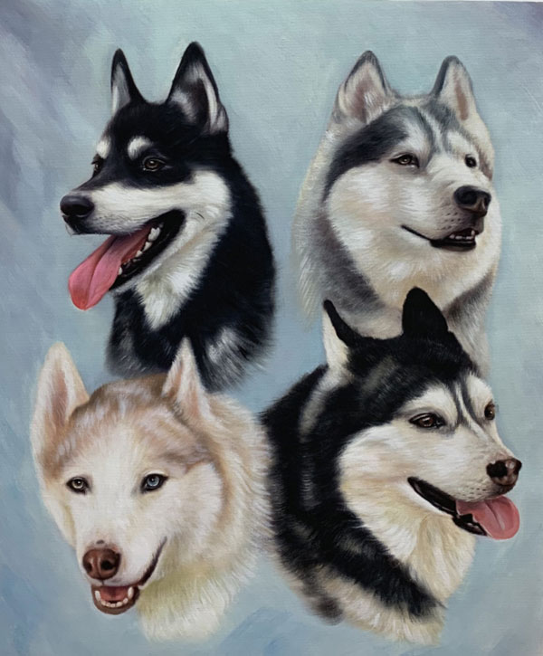 four dogs portrait custom art