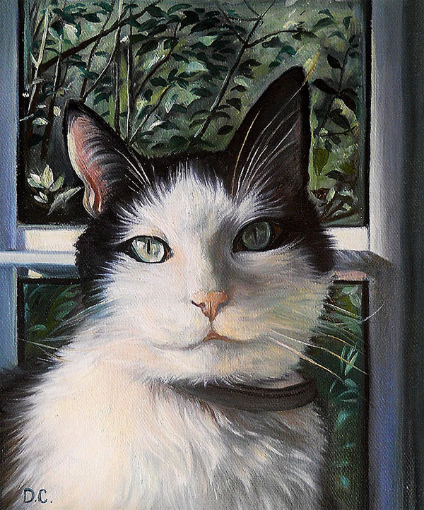 custom oil painting of a cat in front of the window